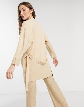 ASOS DESIGN oversized cardigan with tie in oatmeal
