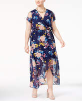 Love Squared Trendy Plus Size Printed Wrap Dress
