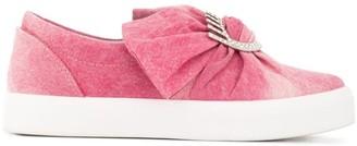 Chiara Ferragni denim bow slip-on sneakers