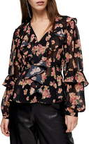 Topshop Floral Print Ruffle Blouse