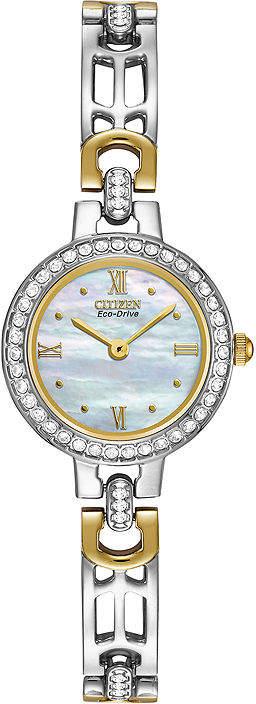 Citizen Eco-Drive Womens Crystal-Accent Two-Tone Bracelet Watch EW8464-52D