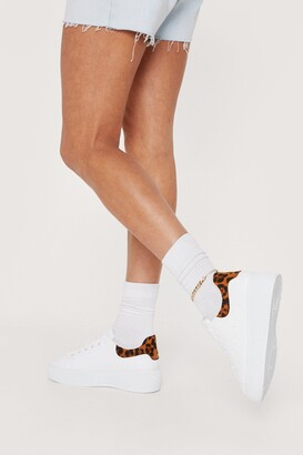 Nasty Gal Womens She's Got Wild Ideas Faux Leather Leopard Sneakers