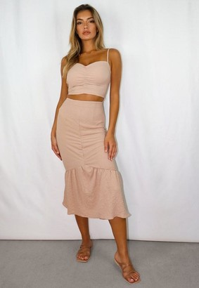 Missguided Petite Sand Co Ord Crinkle Ruched Midi Skirt