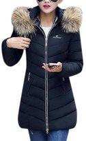 Friendshop Women's Winter Fur Hoodies Outwear Slim Long Thicken Parkas Down Coat Jacket