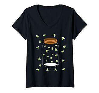 Womens Fireflies Bugs In A Jar Firefly Catch Lightning Insects V-Neck T-Shirt