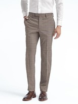Banana Republic Slim Plaid Performance Stretch Wool Dress Pant