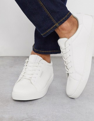 Jack and Jones classic faux leather trainer in white