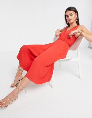 French Connection Angie Lace Mix Jumpsuit in Red