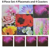 Victoria Classics Easy to Clean 4 Piece Printed Plastic Placemat and 4 Piece Matching Coaster Set. 8 Piece Set. Great for Indoor or Outdoor Use. (Flower)