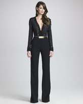 Elie Saab Beaded-Bodice Jumpsuit