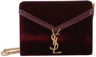 Saint Laurent Cassandra Burgundy Velvet Handbags