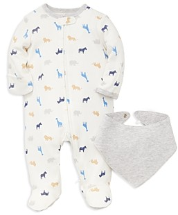 Little Me Boys' Safari Animal Print Footie & Bib Set - Baby