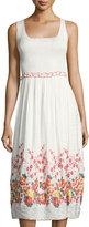Max Studio Smocked Jacquard Sleeveless Dress, White Pattern