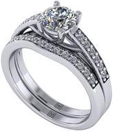 Moissanite Premier Collection Platinum 1ct Total Round Brilliant Centre Bridal Set