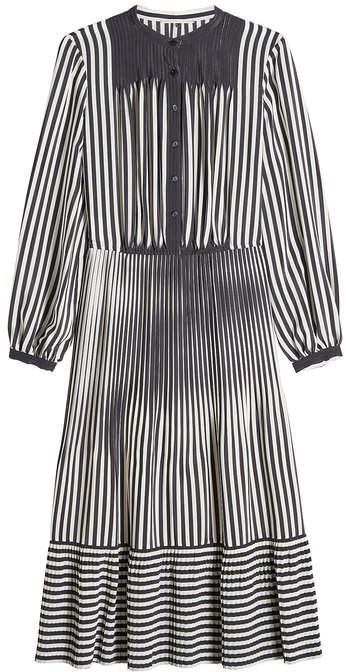 Marco De Vincenzo Striped Silk Midi Dress