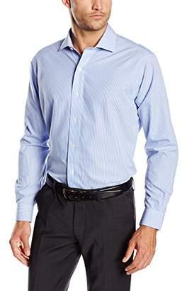 Brooks Brothers Men's Dress Non-Iron English Regent Stripe Shirt, (Light/Pastel Blue 47), (Neck in. 17 Sleeve in. 36)
