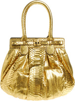 Puffy Metallic Python Handbag