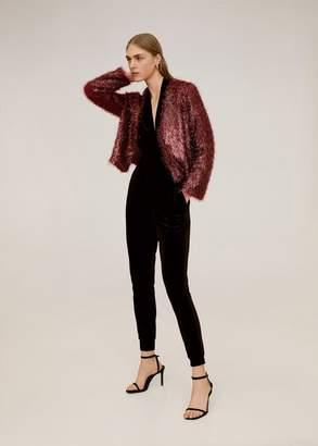 MANGO Fringed textured jacket