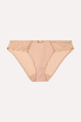 Lejaby Maison Gaby Satin-trimmed Stretch-jersey And Lace Briefs - Blush