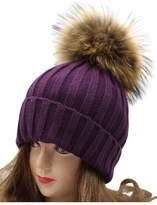 "VamJump Women 7.1""Detachable Real Raccoon Fur Pom Pom Cap Knit Beanie Hat"