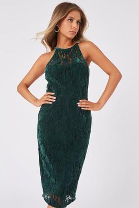 Paper Dolls Ceres Green Velvet Lace Bodycon Midi Dress