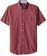Nautica Men's Classic Fit Wrinkle Resistant Short Sleeve Red Plaid Shirt