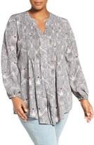 Melissa McCarthy Plus Size Women's Print Tie Waist Blouse
