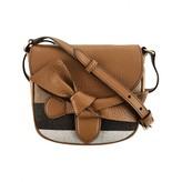 Burberry BurberryGirls Beige Check & Tan Leather Shoulder Bag