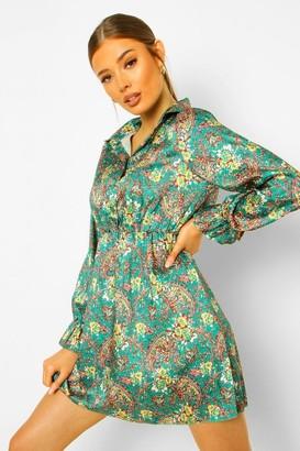 boohoo Paisley Print Button Skater Dress