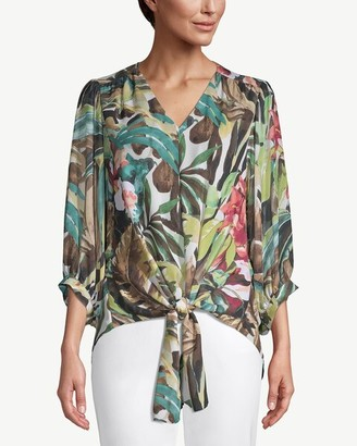 Chico's Tie-Front Tropical-Print Crepe Blouse