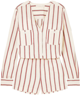 Vanessa Bruno Striped Cotton Playsuit