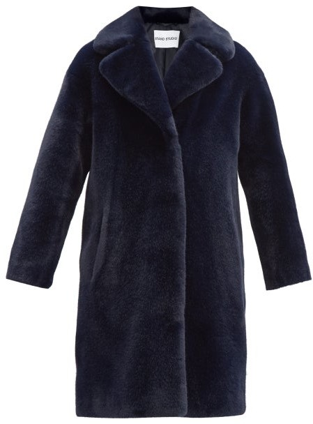 Stand Studio Camille Faux-fur Coat - Navy