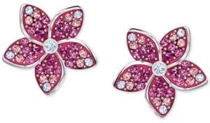 Swarovski Silver-Tone Tropical Flower Stud Earrings