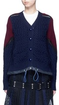 Sacai Lace trim panelled wool drawstring cardigan