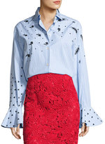 Valentino Long-Sleeve Embroidered Poplin Blouse