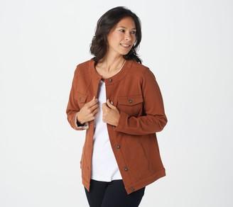 Denim & Co. Comfy Knit Denim Jacket with Seaming Detail