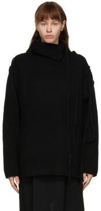 Yohji Yamamoto Black Wool Yarn Drop Turtleneck