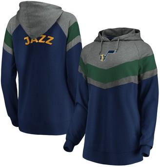Women's Fanatics Branded Gray/Navy Utah Jazz True Classics Go All Out Chevron Pullover Hoodie