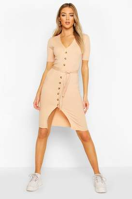 boohoo Rib Knit V Neck Belted Dress