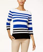 Karen Scott Cotton Colorblocked Zip-Shoulder Sweater, Created for Macy's