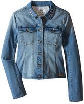 Ikks Denim Jacket with Large Stones & Embroidered Detail (Little Kids/Big Kids)