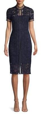 Eliza J Short-Sleeve Lace Sheath Dress