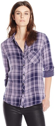 Seven7 Women's Plaid Roll-Sleeve Button Down Shirt with One Pocket