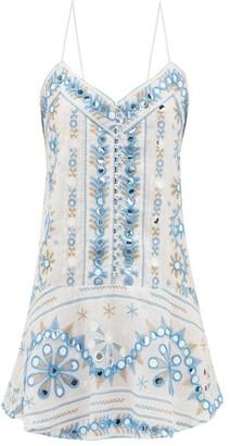Juliet Dunn Nomad Mirror-embroidered Cotton Dress - Blue White