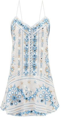Juliet Dunn Nomad Mirror-embroidered Cotton Dress - Womens - Blue White