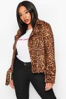 boohoo Plus Leopard Suedette Biker Jacket