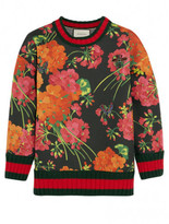 Gucci Floral-print bonded cotton-jersey sweatshirt