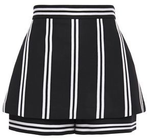 Maje Layered Striped Twill Shorts