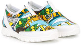 Dolce & Gabbana printed slip-on sneakers - kids - Calf Leather/Neoprene/Polyamide/rubber - 24