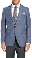 Ted Baker Jay Trim Fit Windowpane Wool & Linen Sport Coat